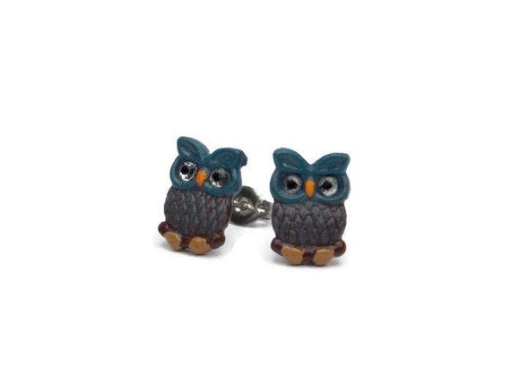 Owl Earrings - Owl Stud Earrings - Owl Gifts - Blue Stud Earrings - Gift Ideas for Her - Owl Themed Gifts - Cute Stud Earrings Polymer Clay