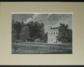 Vintage Architectural Print of Woodhouse Grove School, Apperley Bridge Near Bradford North Yorkshire decor English countryside landscape art