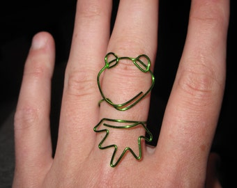 Wire Wrapped Kermit The Frog MADE to ORDER Adjustable Ring Medium