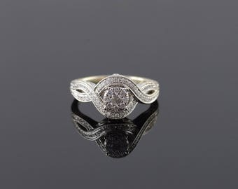 14k 0.25 CTW Diamond Vintage Look Engraved Engagement Ring Gold