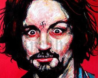 "Druck 8 x 10""- Charles Manson - Helter Skelter Kult echte Verbrechen dunkel Art Horror Halloween Bart Pop-Art Serienmörder Monster anspruchslosen Mord"