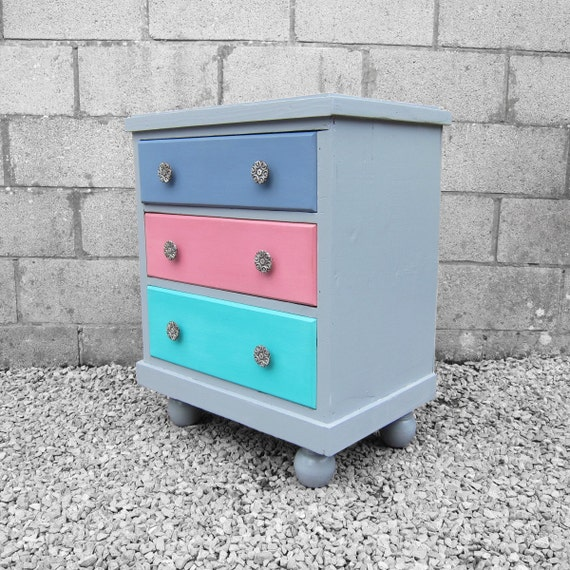 Painted Pine Chest Drawers Vintage Multicoloured