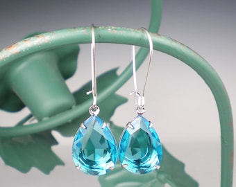 Rhinestone Earrings, Aqua Earrings, Drop Earrings, Bridesmaid Gift, Wedding Jewelry, Gift for Her, Aqua Wedding, Bridesmaid Earrings