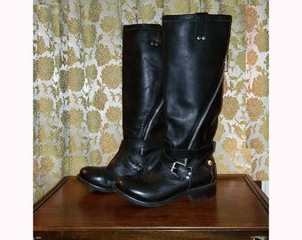 Ladies Black Leather Knee High Motorcycle Boots, Size 8 1/2, Gothic Punk Biker
