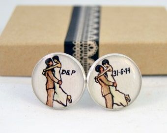 groom cuff links, hand painted personalized