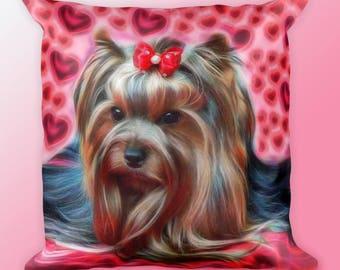 Yorkie Pillow-Yorkie Lover Gift-Yorkie Dog Pillow-Yorkie Heart Pillow