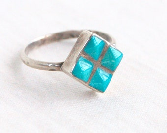 Modern Turquoise Ring Size 5 Sterling Silver Vintage Southwestern Square Diamond December Birthstone Girls Ring