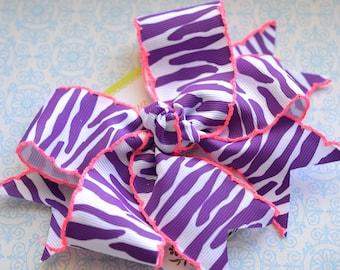 Purple Zebra with Shocking Pink Crochet Edge XL Diva Bow