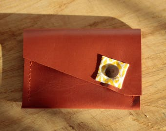 """Evening wallet """"Nino"""" Camel and yellow patterns"""