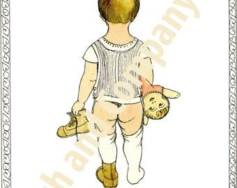 Digital Art Download Illustration little girl goodnight vintage