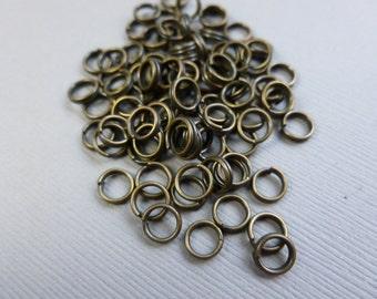 50 DOUBLE SPLIT RINGS antique brass 6mm