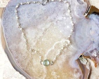 Adiona bracelet de cheville - aqua calcédoine pierre naturelle et des perles d'eau douce sur argent sterling