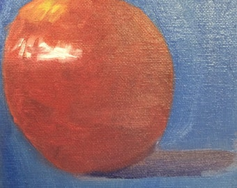 Red Apple on Blue