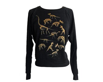 Dinosaur Skeleton Raglan Sweater - Gold Ink American Apparel SOFT vintage feel - Available in sizes S, M, L