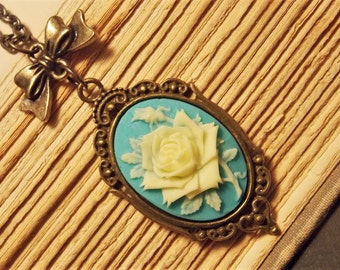 Blue and Bronze Rose Cameo Necklace