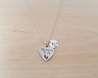 Mommy To Be Necklace - Personalized Necklace - Custom Initial Necklace- Silver Necklace - Custom Necklace - Handmade/ Gift