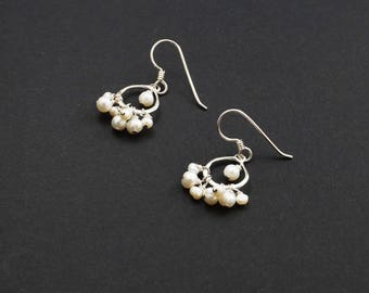 Sterling Silver, Fresh Water Pearl Dangle Earrings