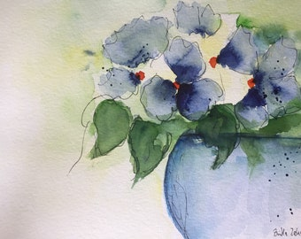 Original watercolor watercolor painting flowers flowers Watercolor Flower Bouquet