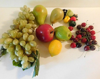 Life Sized Plastic Fruit Cherries Pear Grapes Lemon Apple and Misc. Mini Veg.