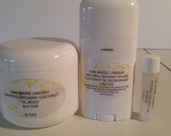 Natural Organic  Coconut Oil Deodorant ,Body Butter and Lip Balm Set