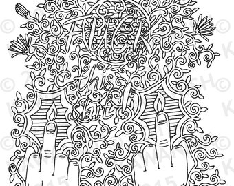 Fuck This Shit Adult Coloring Page Gift Wall Art Funny Humor