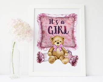 Its a girl, its a girl banner, its a girl sign, gender reveal ideas, gender reveal decorations, gender reveal party, its a girl doorhanger