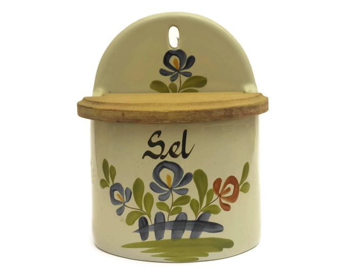 Vintage French Pottery Salt Box. Hand Painted Flower Kitchen Canister. Rustic Kitchen Decor. Foodie Gift