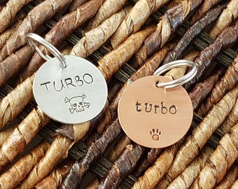 "hand stamped pet ID tag in copper or aluminum (3/4"")"