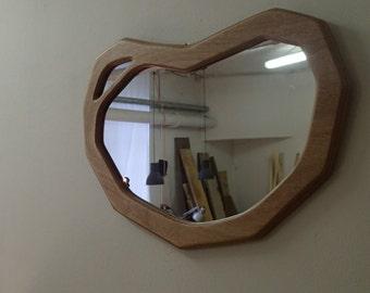 Wood frame mirror. Organic shape. Specchio in legno.