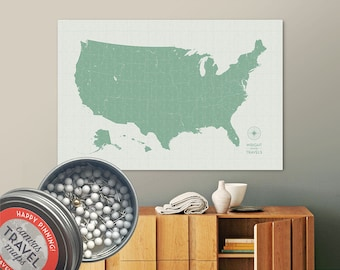 Vintage Push Pin USA Map (Teco) Travel Map Push Pin Map Gift Road Trip Map of the USA on Canvas Personalized Gift For Family Name Sign