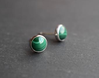 Malachite Stud Earrings - Malachite Earrings, Semi-precious stud earrings, Green Stud Earrings, Sterling Silver Stud Earrings
