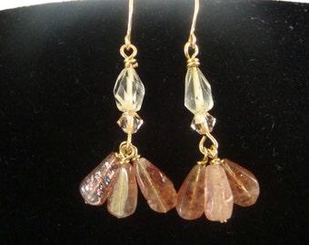 Sunstone and Yellow Quartz Dangle Earrings FREE Shipping