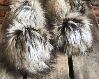 Dirty Blond Dark Roots Faux Fur Pom Poms for Toques Beanies Hats Keychains Purse Fob Charm Vegan Fake Plush Long Pile Craft Supply