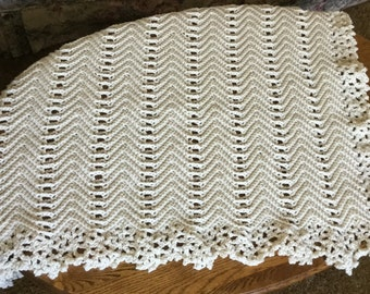 Vintage Lace Cream Off-White Crochet Afghan Blanket
