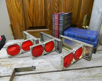 Vintage Roadside Emergency Safety Red Reflector Set Tiger EY Hexflex no. 100