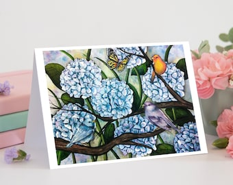 Hydrangea Watercolor Painting with Birds, 5x7 Greeting Card Blank Inside, Blue Hydrangea Art, Nature Print, Garden Art, Monarch Butterfly