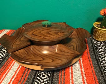 Mid Century Large Calif USA Lazy Susan Snack Serving Set