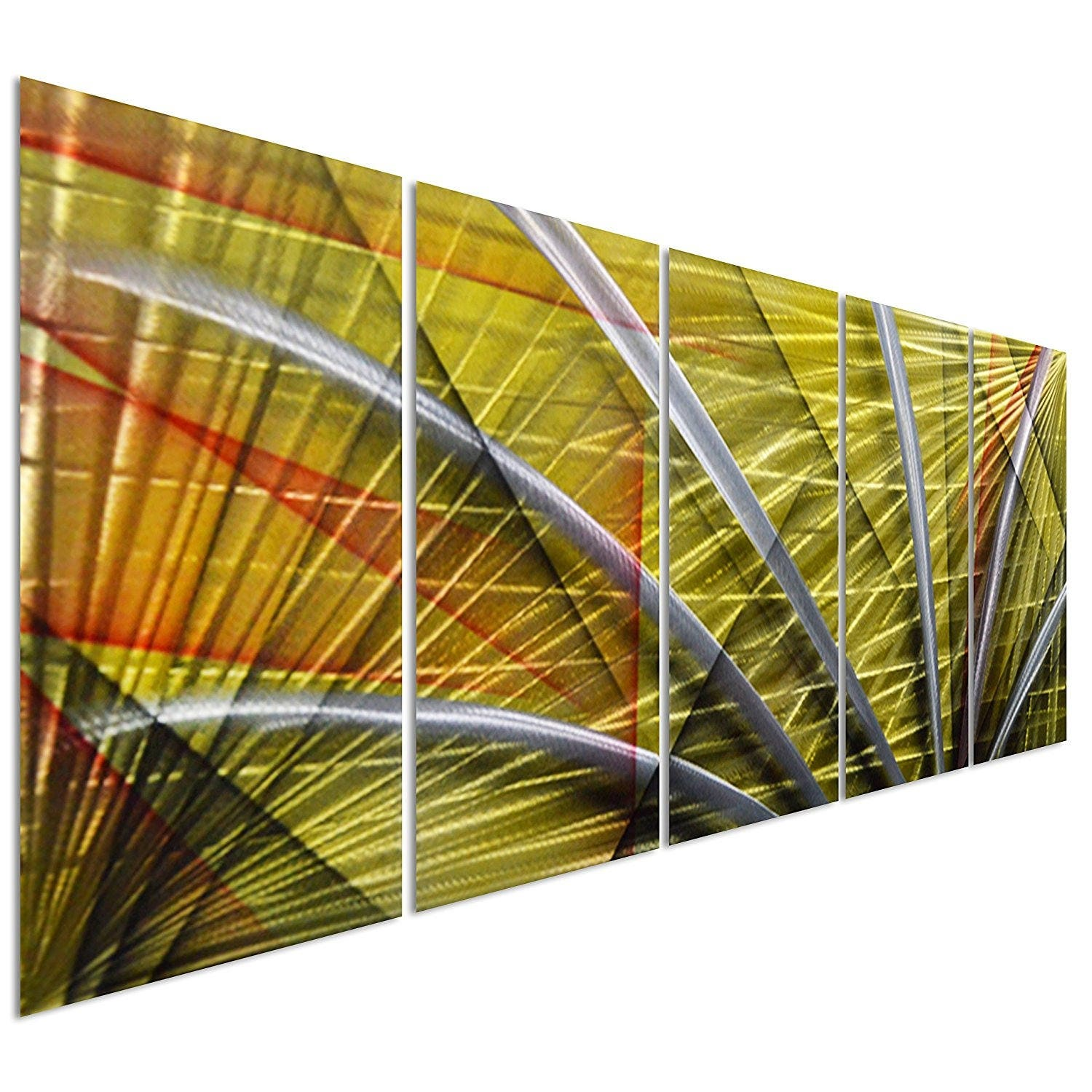 Silver Abstract Figurative Lines on Yellow Large Modern