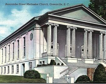 Greenville, South Carolina, Buncombe Street, Methodist Church - Postcard - Vintage Postcard - Unused (UU)