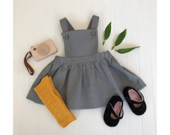 Gray Pinafore dress Girls linen pinafore dress Juliette Pinafore dress Gray pinafore dress Baby pinafore toddler pinafore Girls dress