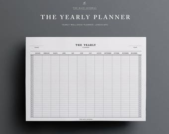 Yearly Planner Printable - Wall Planner, Desk Planner | Yearly Wall Planner | A2, A3, A4, A5, Letter, Half Letter | Landscape Classic