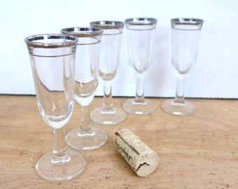 5 Vintage Silver Rim Cordials Mid century Glasses - Set of Five Dainty Dorothy Thorpe Mad Men Style Silver Rimmed Cordial Glasses