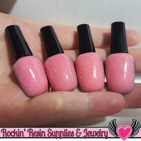 4 pc Light Pink GLITTER NAIL POLISH Girly Flatback Resin Decoden ...