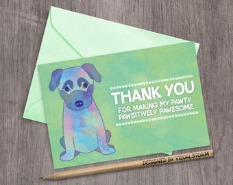 Cute Puppy Thank You Card Watercolor German Shepherd Puppy Pet Dog Party Thank You Puppy Birthday Thank You Note Shepherd Puppy Pawty Cards