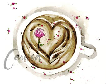 Watercolor Greeting Card/ Coffee + Roses Greeting Card/ 3.5 x 5.5/ Gift for her/ Card for her