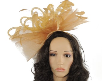 Old Gold Grand Dame Fascinator Hat for Weddings, Races, and Special Events With Headband