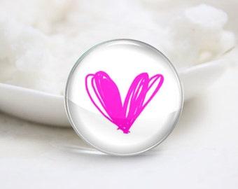 10mm 12mm 14mm 16mm 18mm 20mm 25mm 30mm Handmade Round Photo Glass Cabochon-Heart (P1874)