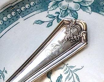 1914 Vintage Engraved D Monogram Silverplate Fork Wm Rogers