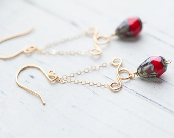 Red Gold Chain Earrings, Red, Chain Earrings, Gypsy, Bohemian, Boho, Red Earrings, Red Gold Earrings, One of Kind, Gift for her