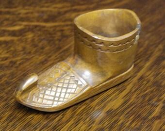 vintage carved wood shoe match holder